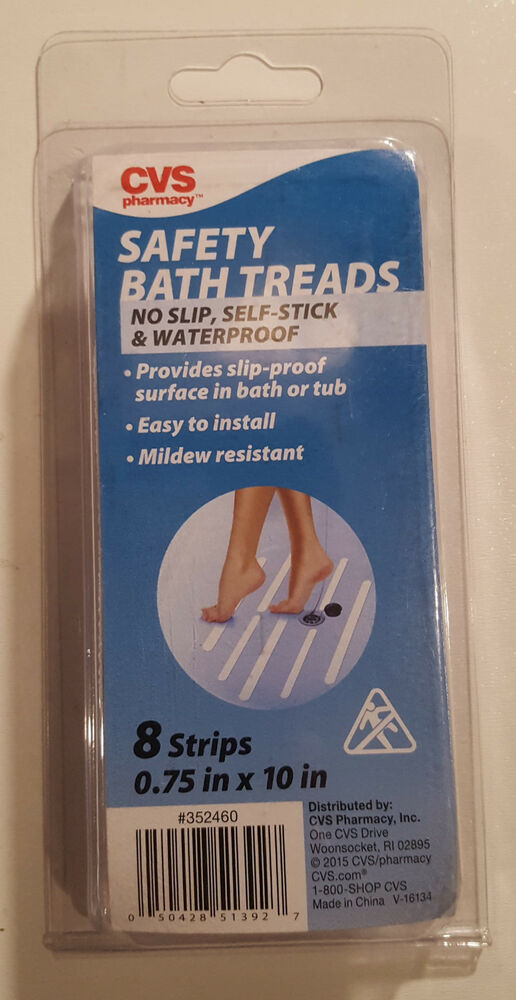 Cvs Safety Bath Treads 075 In X 10 In White 8 Strips No Slip