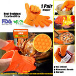 BBQ Gloves | Heat Resistant Silicone Oven Mitts | Grilling or Cooking 1 Pair