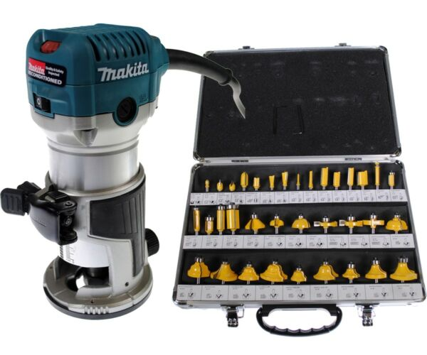 Makita RT0701C 1-1/4 HP Compact Router REFURBISHED + 35 Piece 1/4 Router Bit Set
