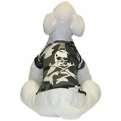 Gooby Glow in the Dark Skull Camo Dog T - Large (Chest 17''/Neck 13'')