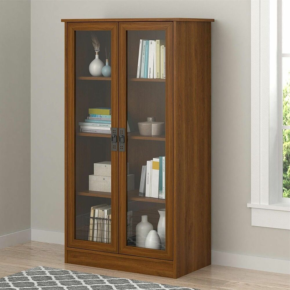 Wood Storage Display Cabinet Glass Doors Bookcase China Curio Multi