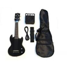 New Electric Eukulele Kit With Amp Case Cord Strap Black SG Style MSRP $130
