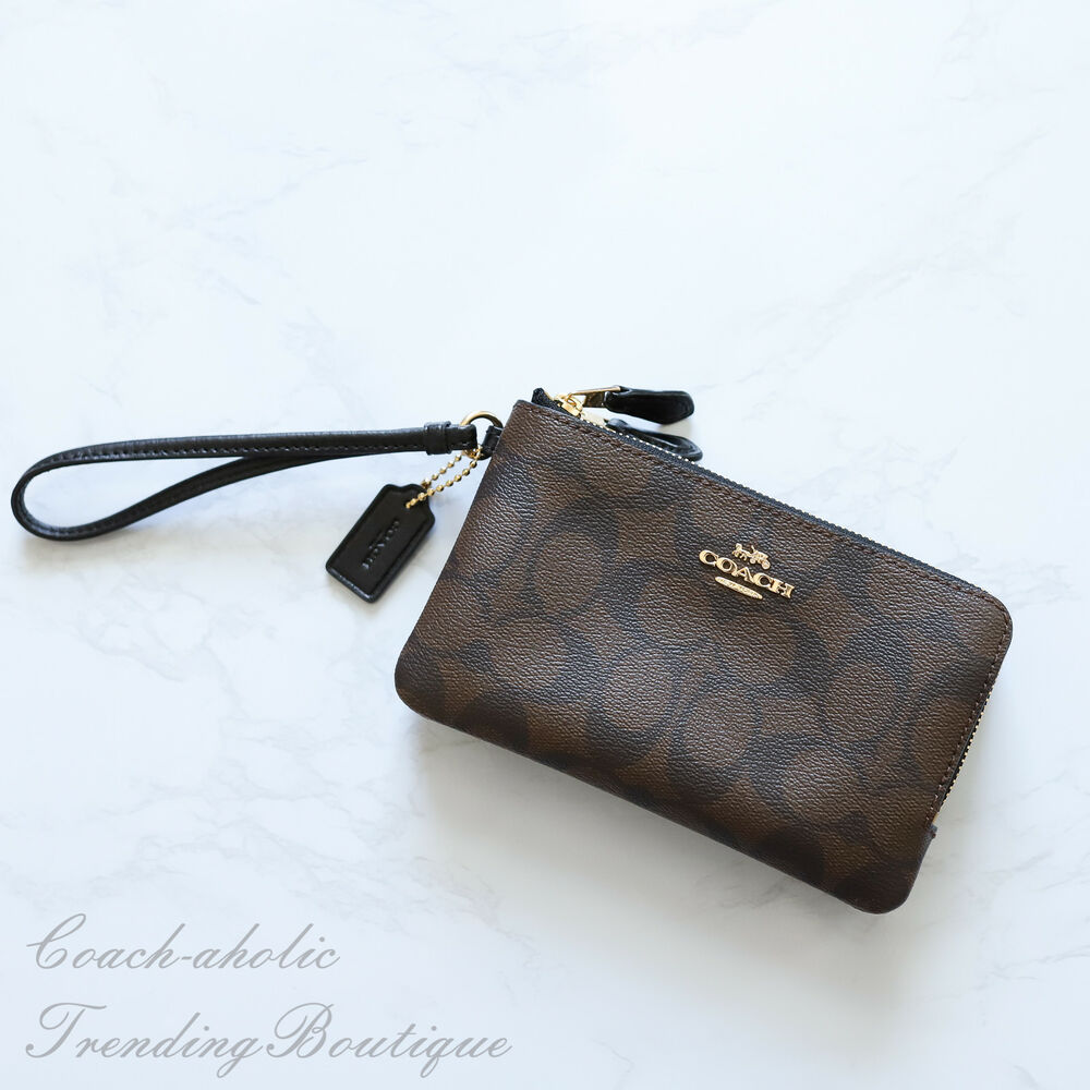 e88d9dbec76a Details about NWT Coach F87591 Double Corner Zip Wristlet in Brown Black