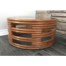 Mid Century Modern Paul Frankl Style Round Coffee Table with Glass Top