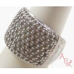 Sterling Silver Vintage 925 Pave Set Cocktail White Topaz Ring Sz 8 8.2g 738539