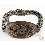Sterling Silver Vintage 925 Flame Throwing Dragon Id Bracelet 9'' (55.2g) 739374