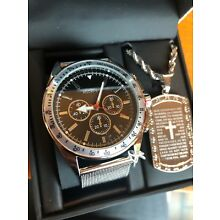 Rockawear Mens Watch And Necklace Religious