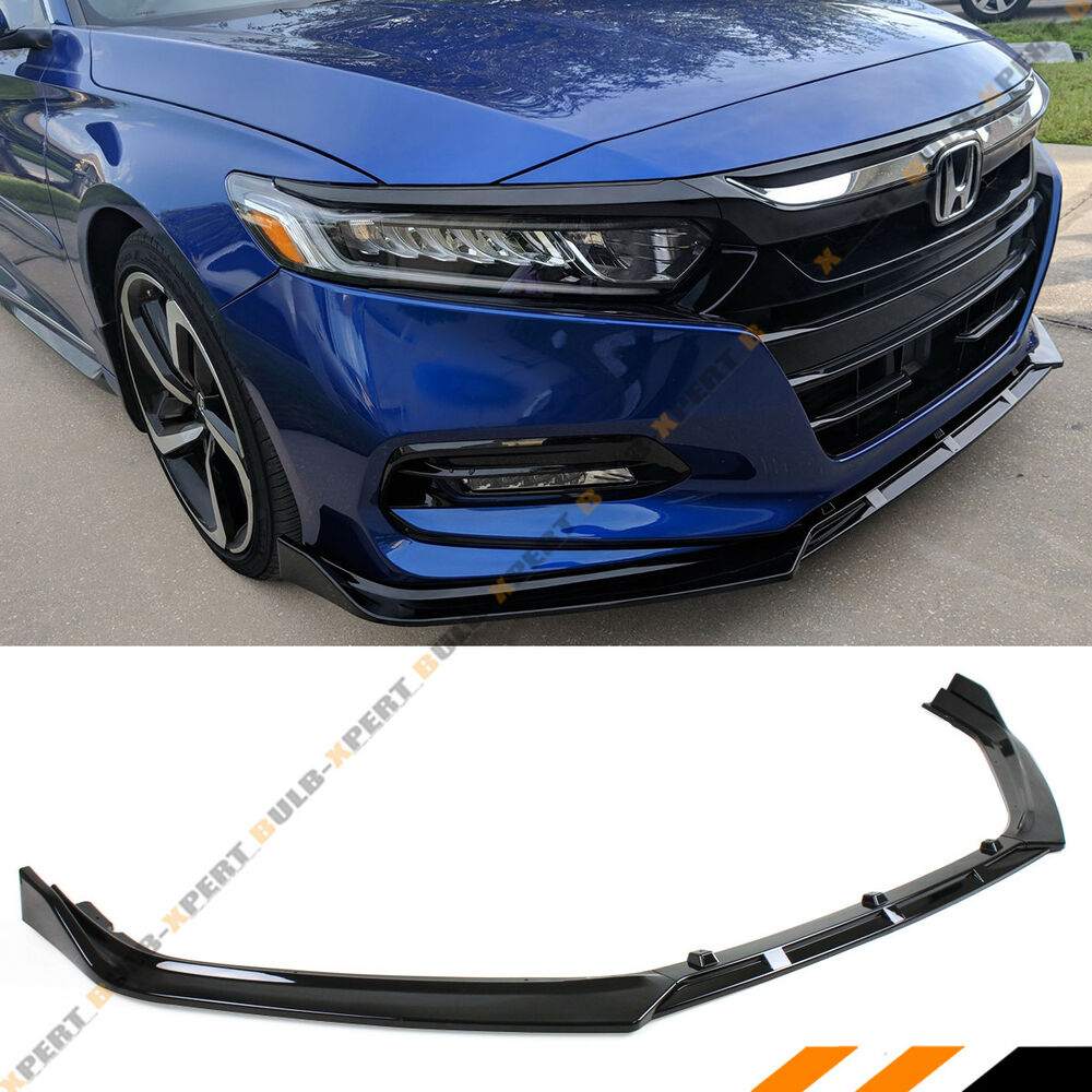 Details About For 2018 2019 Honda Accord Jdm 3pc Style Glossy Black Front Per Lip Splitter