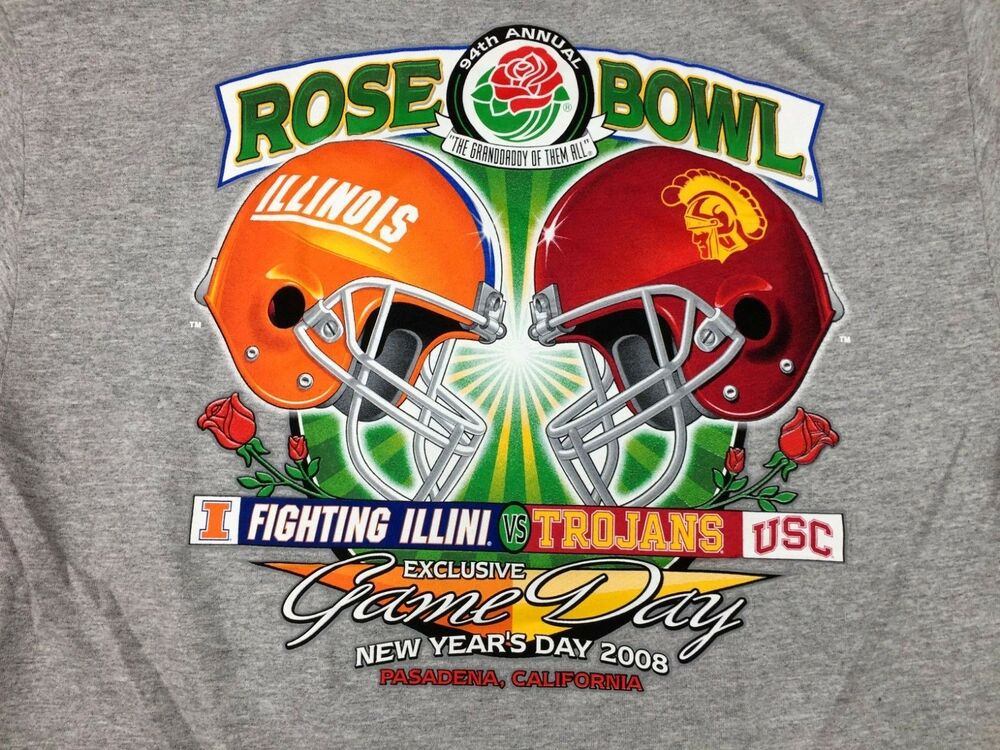 Details about VTG  08 Rose Bowl USC TROJANS ILLINOIS FIGHTING ILLINI Game  Day Football Shirt L c4e12a672fcb