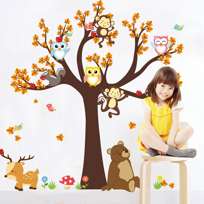 cartoon forest tree branch animal owl monkey bear wall stickers for