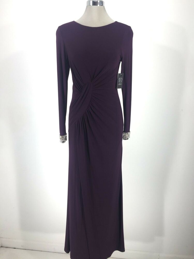 Vince Camuto Nwt Red Carpet Plume Formal Dress Jeweled