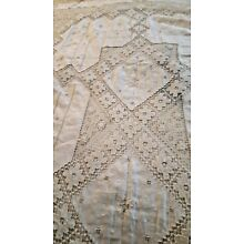 Antique Lace Tablecloth Hand-Knotted Italian Filet Embroidery 58