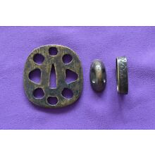 Brass japanese sword tsuba and fuchi kashira