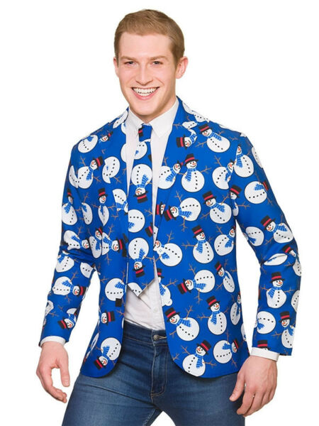 Mens Snowman Cool Costume Jacket & Tie Christmas Party Novelty Xmas Fancy Dress