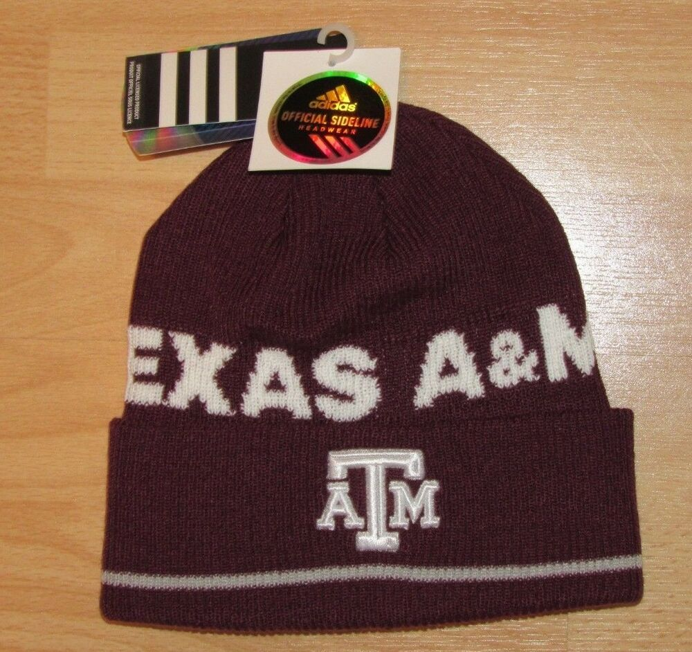 the latest f066b 5e75b Details about Adidas Texas A M Aggies Official Sideline Winter Knit Hat Cap  Cuffed Men s