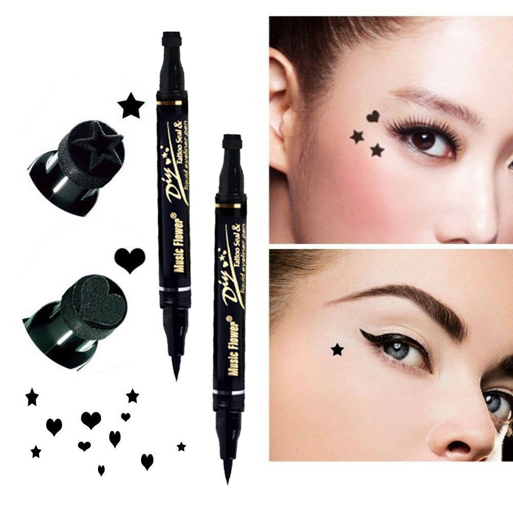 Details About 1pc Double Head Eyeliner Liquid Pen With Stamp Black Eye Liner Cosmetic