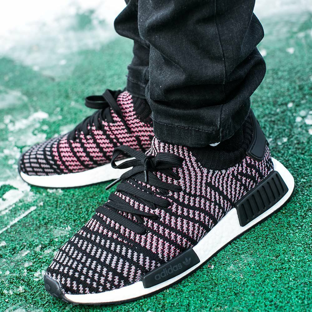 6bd9df04e Details about NEW Adidas NMD R1 STLT PK Mens Shoes Core Black Grey Solar  Pink CQ2386 BOOST