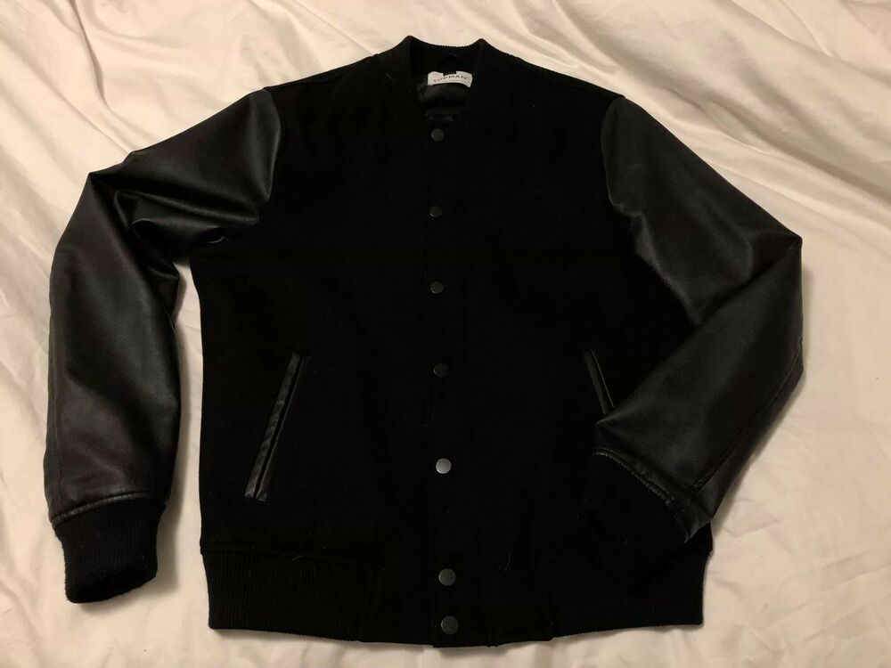 5841a3ff5a6 Topman Mens Black Wool Blend Varsity Jacket Bomber Size Small Leather