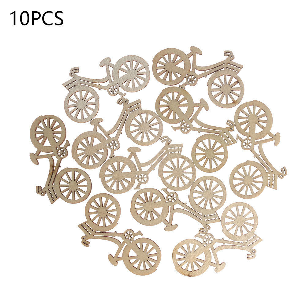 Home & Garden 10pcs Wooden Bicycle Bike Cutout Veneers Slices Crafts Embellishment For Diy Crafting Ornament Decoration For Wedding Engagement