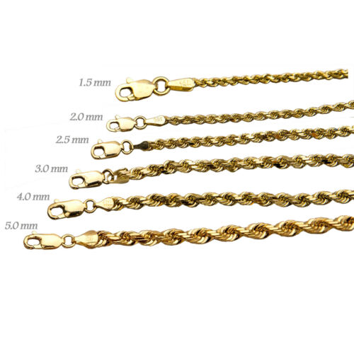 "14k Solid Yellow Gold Rope Chain Necklace Bracelet 1mm-9mm Men Women Sz 7""-36"""