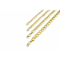 Kyпить 14k Solid Yellow Gold Cuban Link Chain Necklace 1.5-12mm Men's Women Sz 16
