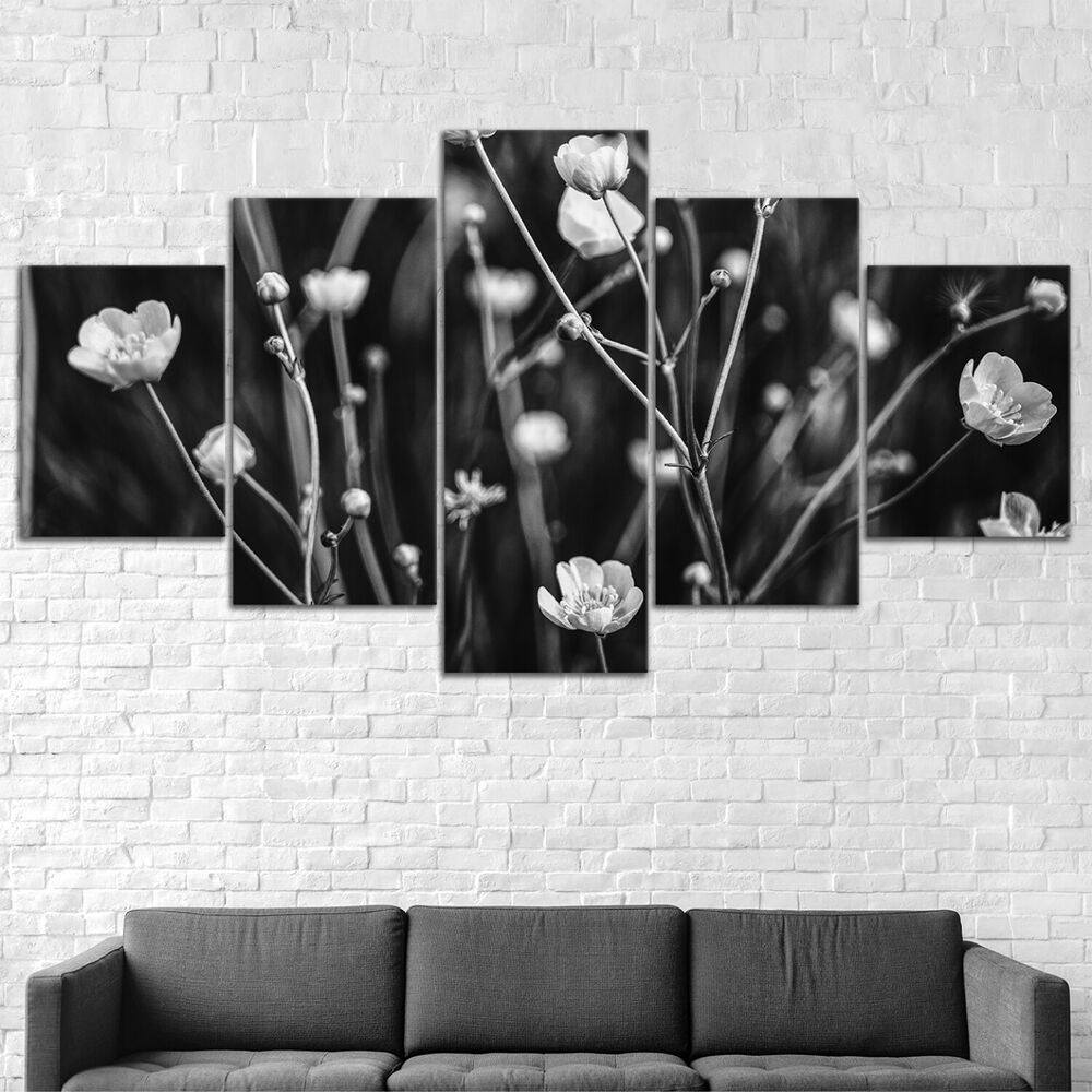 Black And White Flowers Canvas Print Painting Framed Home Decor Wall