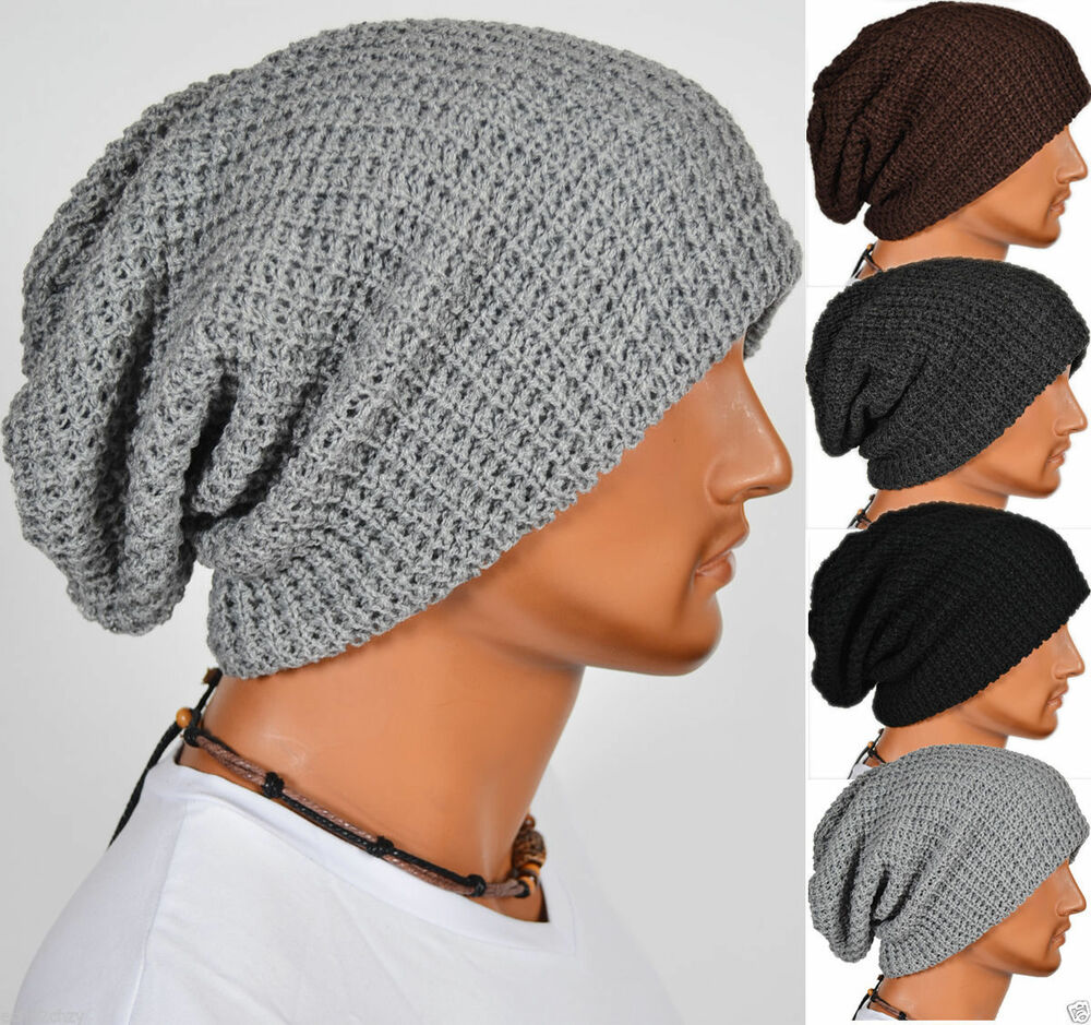 Details about Mens Ladies Knitted Woolly Winter Oversized Slouch Beanie Hat  Cap Skateboard Hat 67c757d6c49