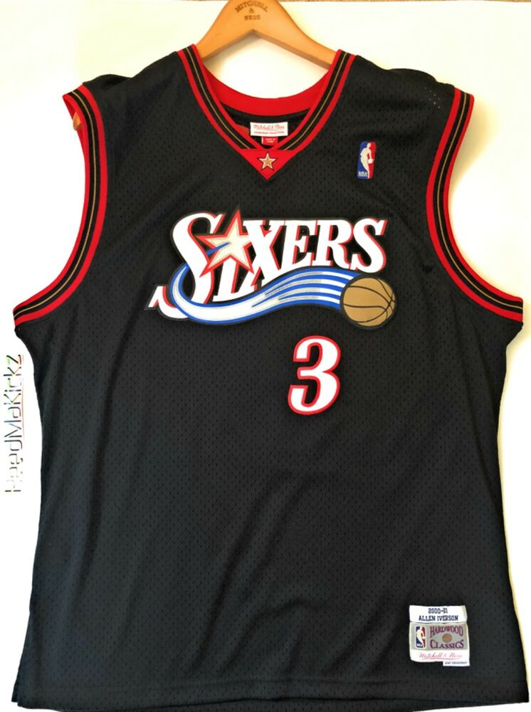 3f5b145f0 Details about Allen Iverson Sixers 76ers Mitchell Ness 2000-01 HWC Swingman  Jersey Black  130