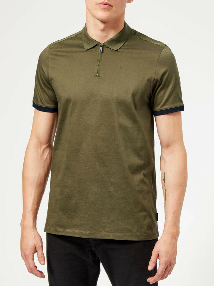 35eb26455b7e9 Details about TED BAKER MEN S SNIKA ZIP POLO SHIRT IN NAVY KHAKI GREEN    ALL SIZES