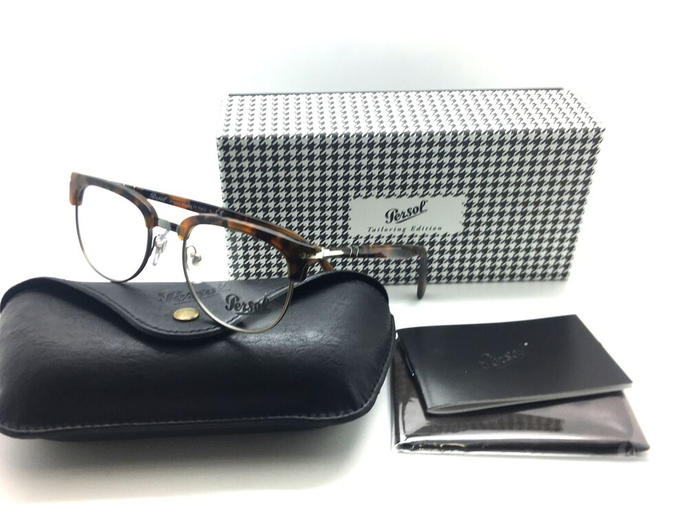 e284f2272efdb Persol 3197V Eyeglasses 1073 Brown Metal Plastic Rounded MIB 52mm  752541036122