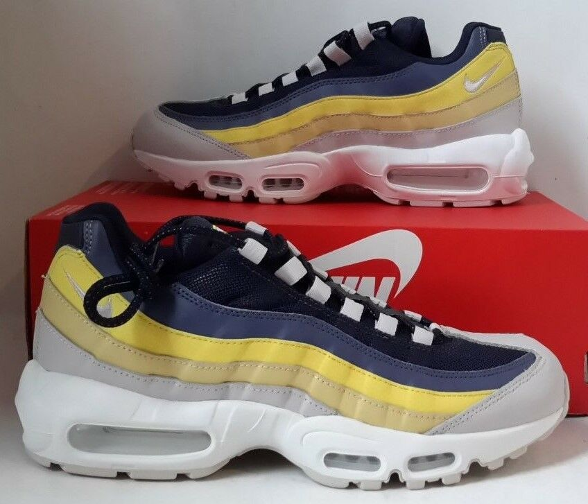 34b2abc784 Details about New Nike Men's Air Max 95 Running Shoes 749766-107 White Vast  Grey Michigan Sz 7