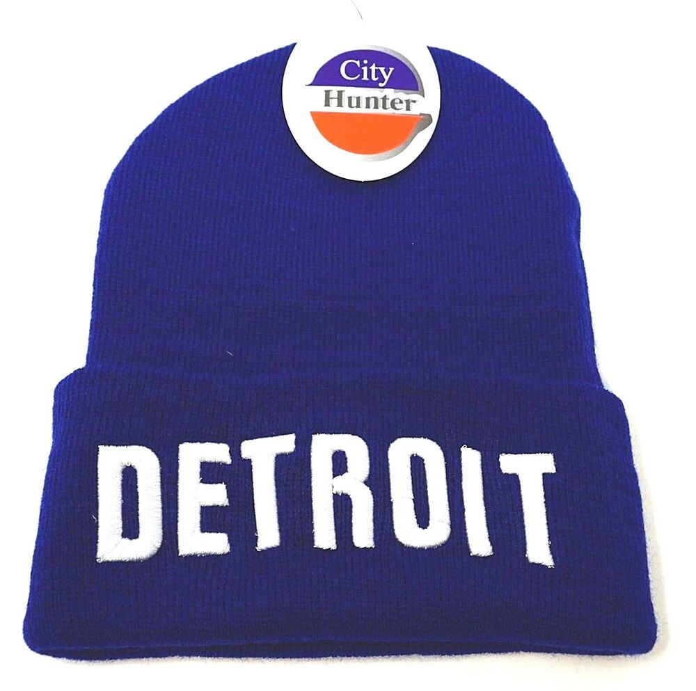 670c35cba29 DETROIT City Skull Cap Embroidered Cuff Beanie Winter Hat Cuffed NWT  842078000021