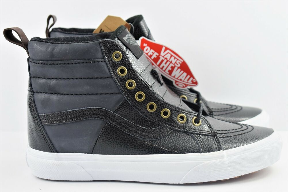 af37ad0c143ca5 Details about Vans SK8 Hi 46 MTE Pebble Leather Mens Size 7.5 Skate Shoes  Black