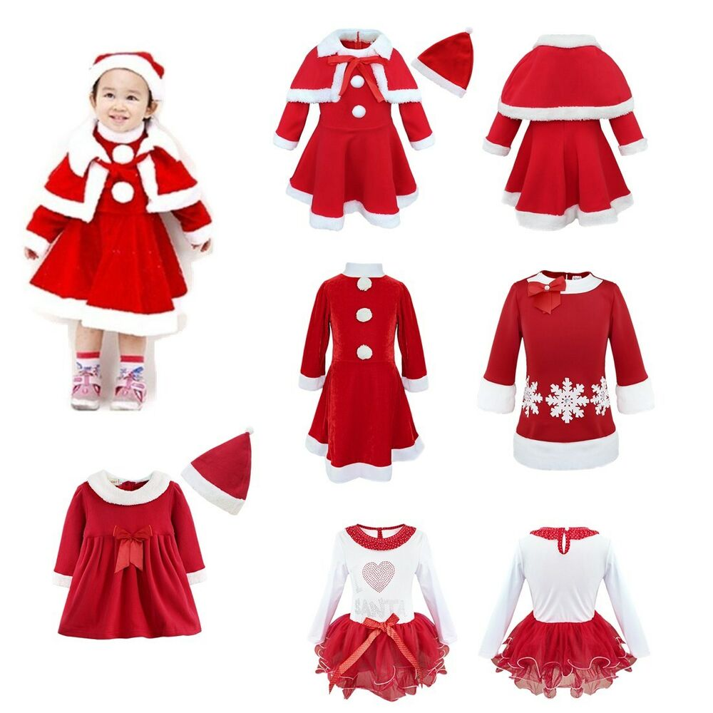 5da7ff4420cf Details about Girls Christmas Santa Claus Cosplay Costume XMAS Fancy Party  Dress up Outfits
