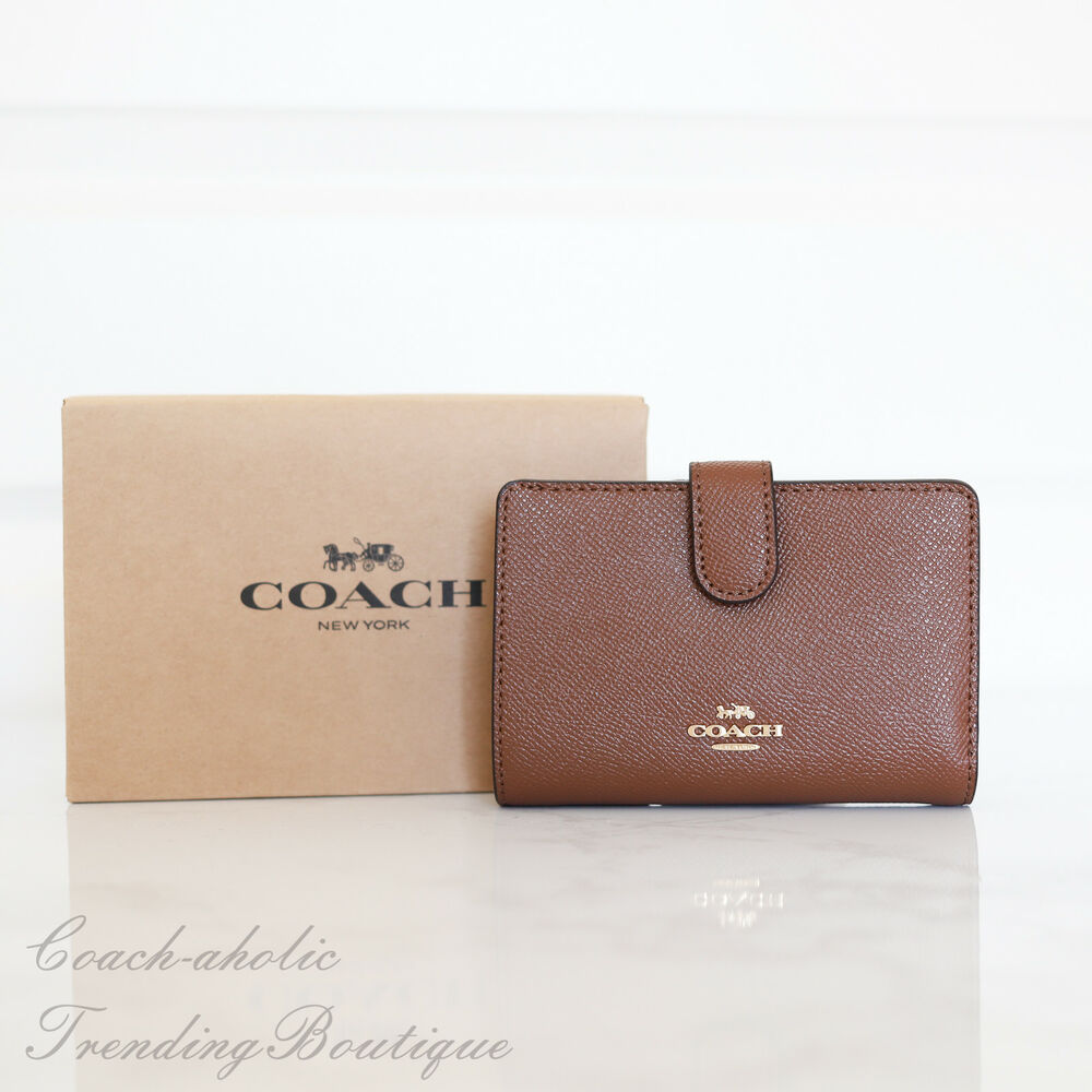 f6e198fb3c56 ... discount details about new coach f11484 medium corner zip wallet in  crossgrain leather saddle cff1c af425