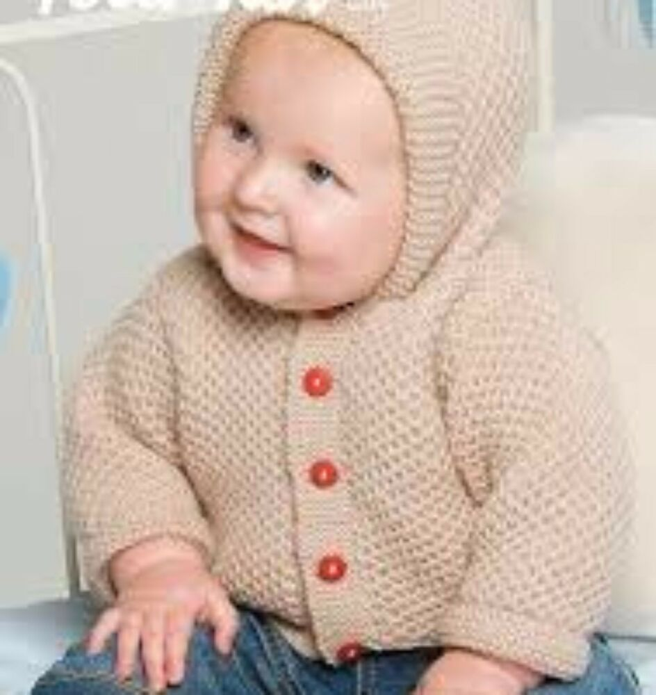 b0f132252 KNITTING PATTERN Babies hooded jacket cardigan pixie hood Childs 0 ...