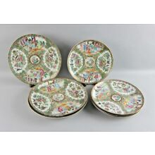 Lot of 8 CHINESE ROSE MEDALLION Dinner and Salad Plates Mid 1800s Gold Gilded