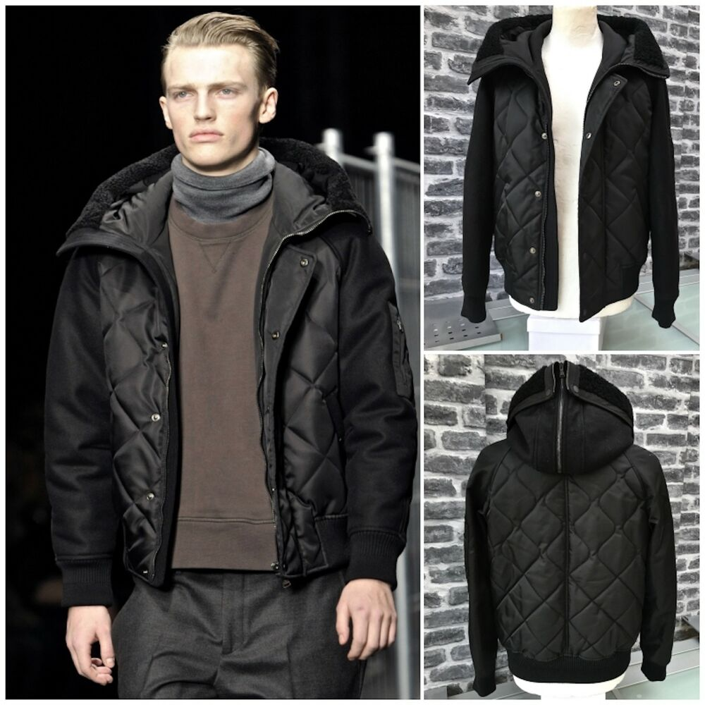 0fbca15e9 Details about Rare & Great Neil Barrett AW12 Nylon Wool Quilted Hooded  Shearling Bomber Jacket