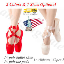 Girl Women's Pro Satin Ballet Pointe Shoes Ribbon Toe Dance Shoes All Size Gift