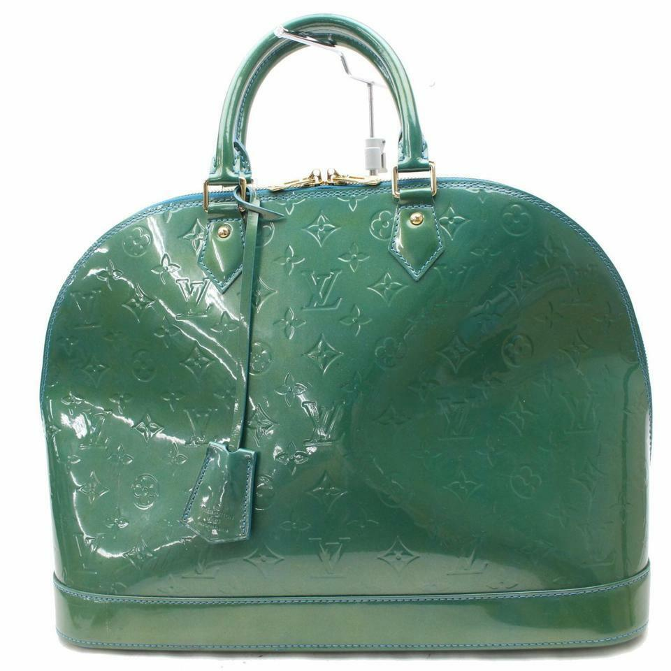 64aba24966a0 Details about Louis Vuitton Alma Monogram Vernis Gm Green Patent Leather  Satchel 867910