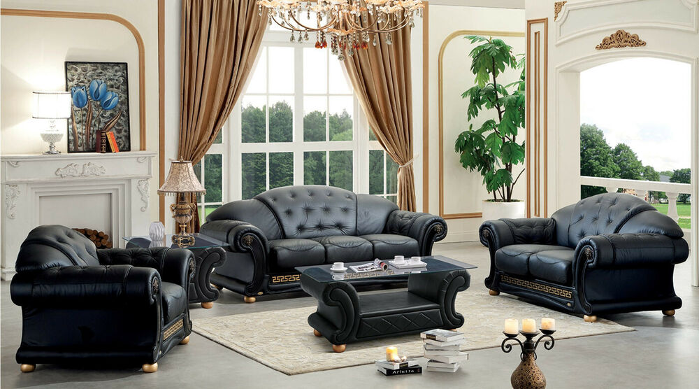 Versace Luxurious Button Tufted Black Italian Leather Sofa Ebay