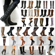Womens Knee High Lace Up Buckle Winter Mid Calf Boots Leather Riding Flat Shoes