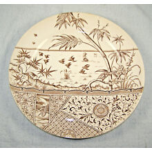 1881 Brown English Staffordshire Aesthetic Design Plate - Melbourne Pattern