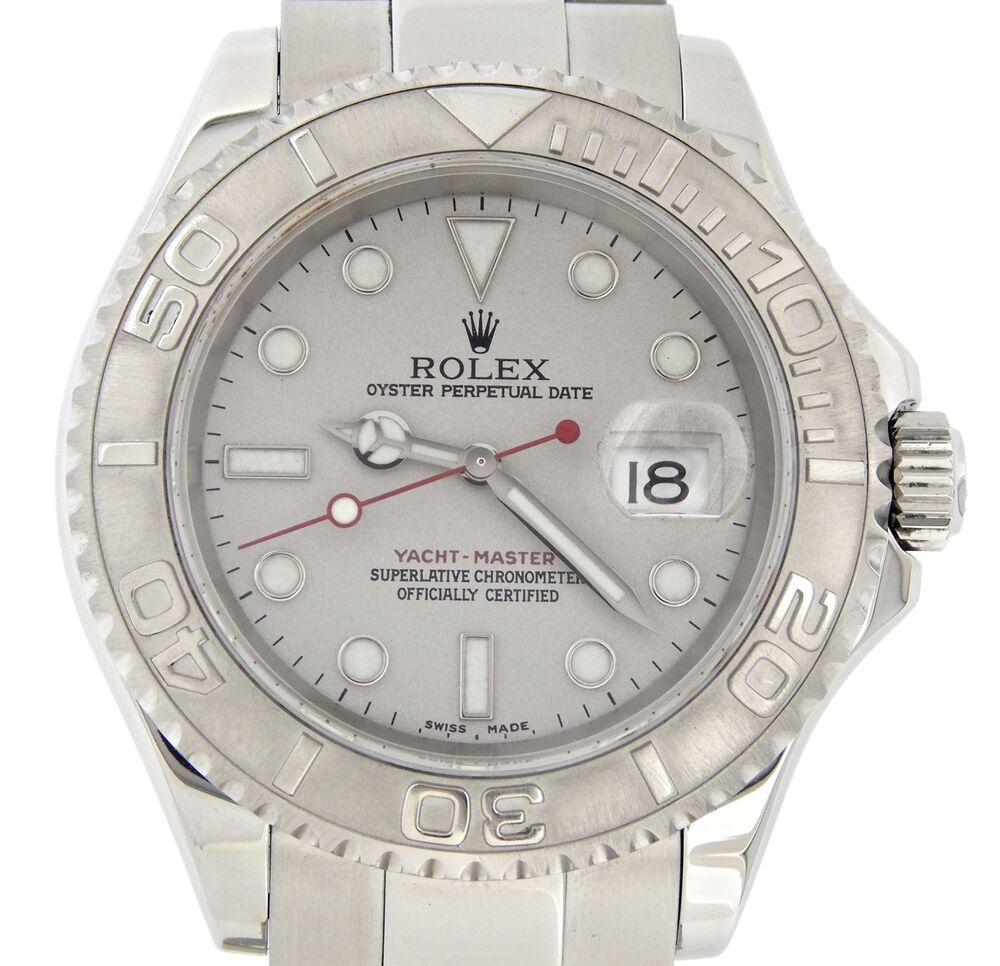 b8e204831af Details about Rolex Yacht Master Mens Stainless Steel   Platinum Dial Bezel  Watch 40mm 16622