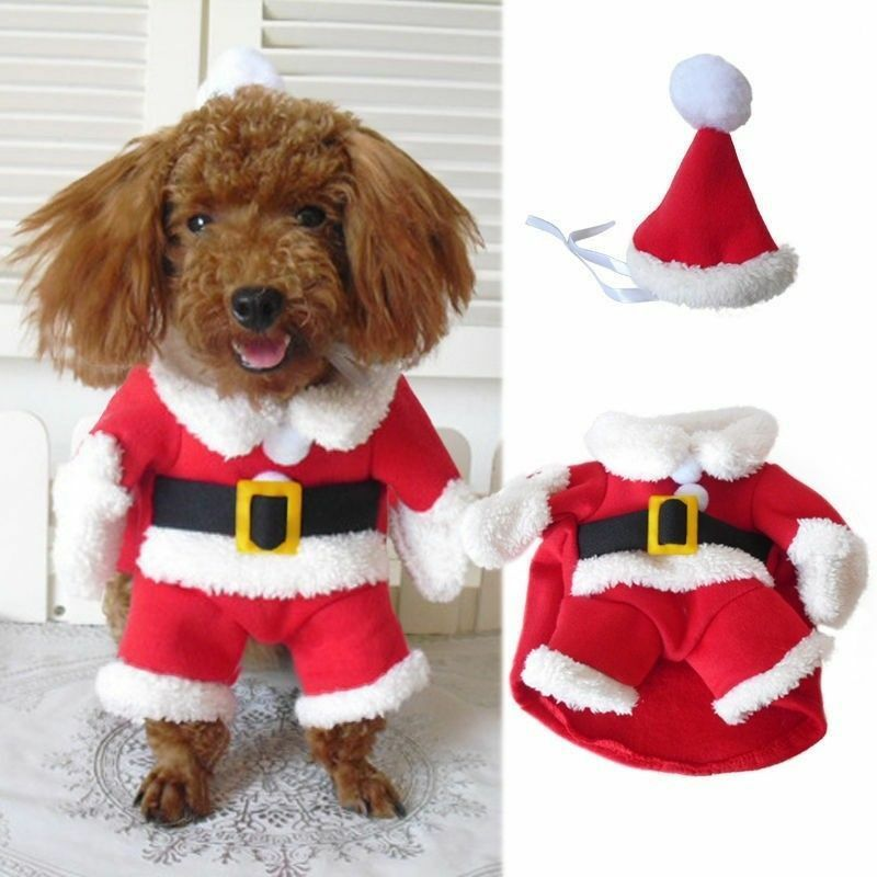 Set Include: 1pc Pet Santa Costume, 1pc Hat Condition: New without tag.  Material: Cotton Blend Color: Red(As pictures shown) Features: - Pets Dog Christmas Santa Clothes Costume & Hat Outfits Coat Puppy