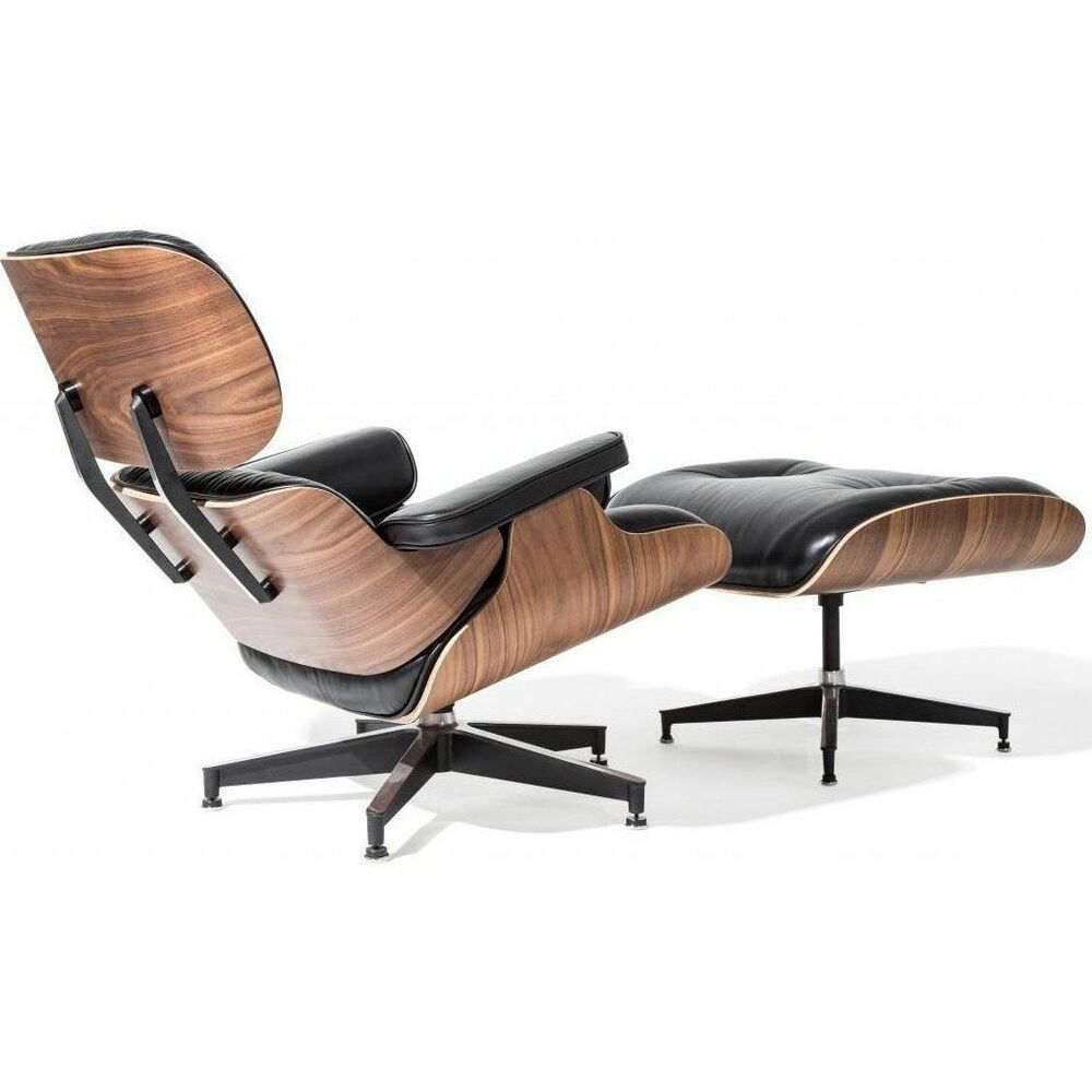 Details About Premium Eames Lounge Chair Ottoman Italian Black Leather Real Walnut Wood