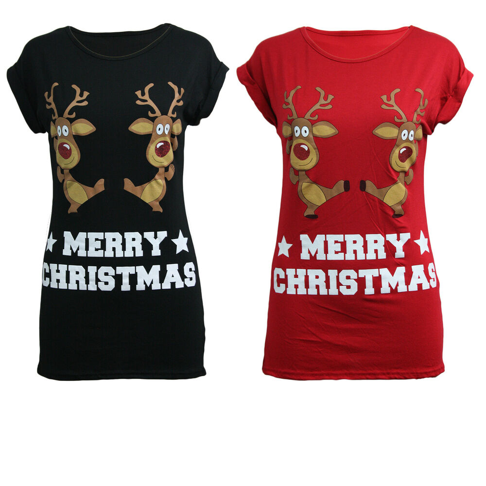 Christmas Tops For Women.Women Ladies Christmas Glitter Dancing Rudolph Tshirts Festive Novelty Xmas Tops Ebay