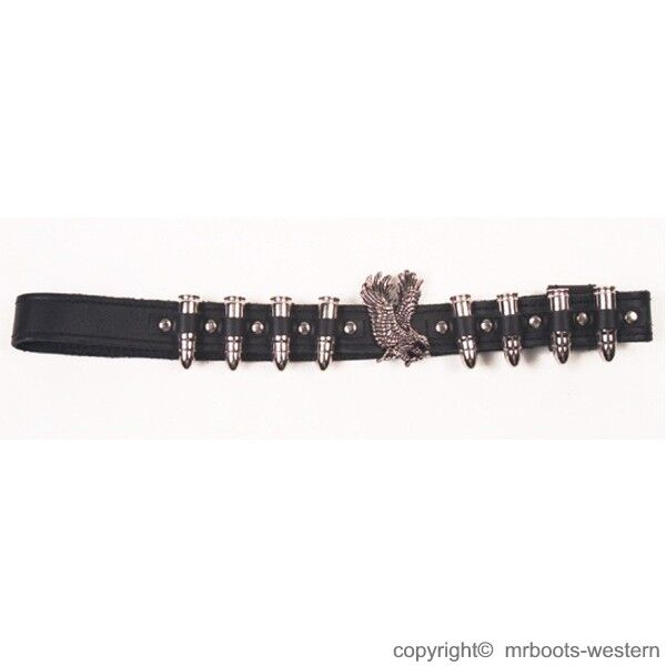 Details about Hat Band for Cowboy Hats - Black Leather With Silver Bullets    Eagle 387c5e68995