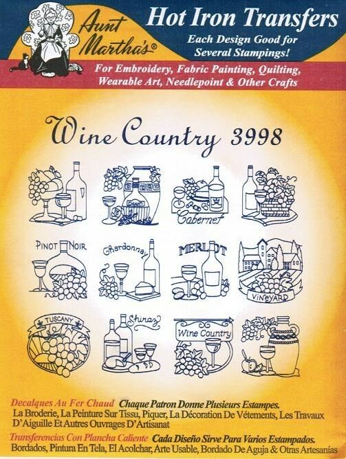 Wine Country #3998 Aunt Martha\'s Hot Iron Embroidery Transfer ...