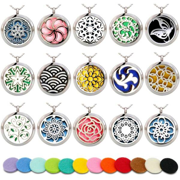 Aromatherapy Necklace Stainless Steel Essential Oil Diffuser Locket Size 30mm